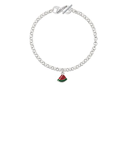 Silvertone Mini Enamel Watermelon Slice God's Love Infinity Toggle Chain Bracelet, 8'' by Delight Jewelry