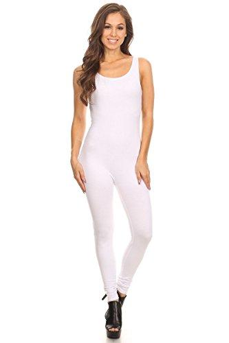 Women's Scoop Neck Sleeveless Stretch Cotton Jersey Unitard Bodysuits White Small