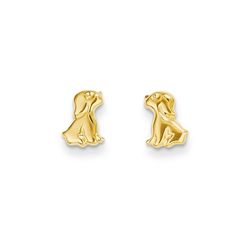 Girls Sitting Dog Friction Back Post Earrings in 14k Yellow Gold (Dog 14k Gold Yellow)