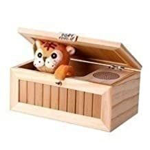 Bamwoo Story Cute Tiger Wooden Useless Box Gimmicky Fun Geek Gadget Toy Gift Home Office Desk Decor Christmas Gift