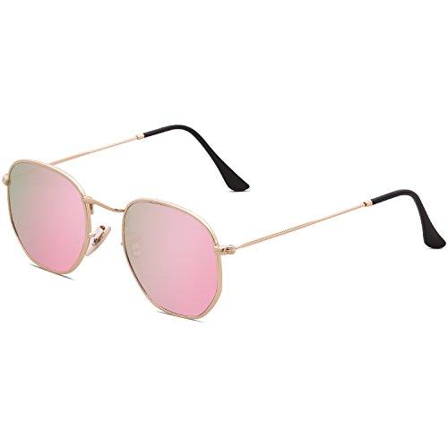 Dorado Espejo Polígono Rosa Unisex SOJOS Clásico Gafas Lente Portección de Polarizado Marco SJ1072 Sol UV C2 Lentes AwH61qx1