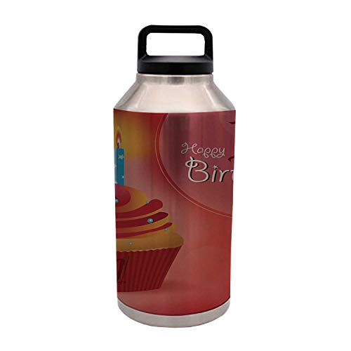 1st Birthday Decorations Durable 64OZ Stainless Steel Bottle,Abstract Backdrop with Sunbeams and Party Cupcake Candle Image for Home Travel Office,4