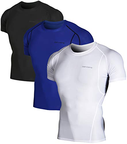 DEVOPS Men's 3 Pack Cool Dry Athletic Compression Short Sleeve Baselayer Workout T-Shirts (Medium, Black-Blue-White)