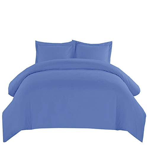 Royal Hotel Solid Periwinkle 550-Thread-Count 3pc Full/Queen Duvet-Cover 100-Percent Cotton, Sateen ()
