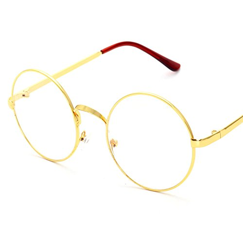 Lovef Large Oversized Metal Frame Clear Lens Round Circle Vintage Eye Glasses 5.42inch - Shaped Round Face Eyeglass For