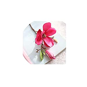 Single-branched Magnolia Flower Artificial Flower Fake Flower Artificial Fake Flower Wedding Bouquet Party Home Decoration Jan17,C 112