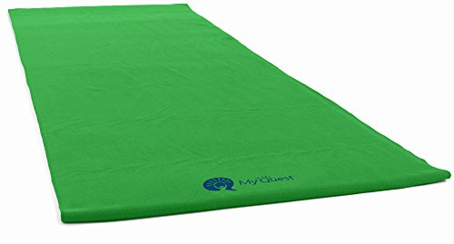 MyQuest Bikram Hot Yoga Towel - Microfiber Non Slip Yoga Mat Towel With Premium Carry Bag (Standard Size Green)
