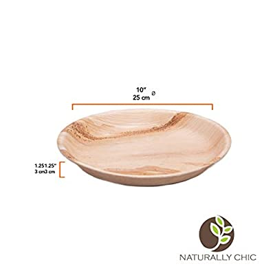 Naturally Chic Palm Leaf Compostable Plates | Biodegradable Disposable Small Dinnerware Bulk Set - Eco Friendly Alternative Plates for Weddings, Parties, BBQs, Events