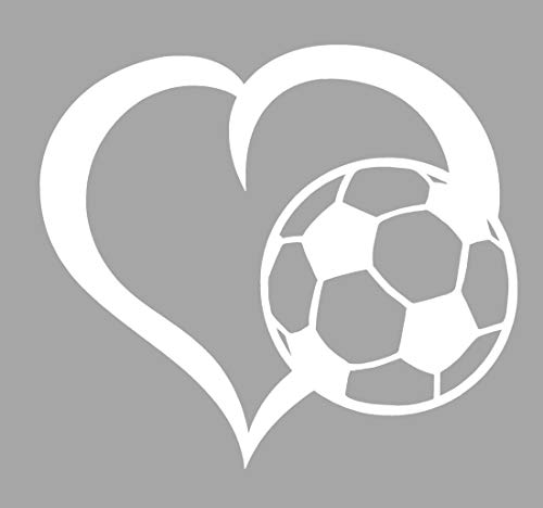 WickedGoodz Die Cut Heart Soccer Ball Decal - Fútbol Bumper Sticker - Perfect Soccer Gift (White) (Soccer Window Decal)
