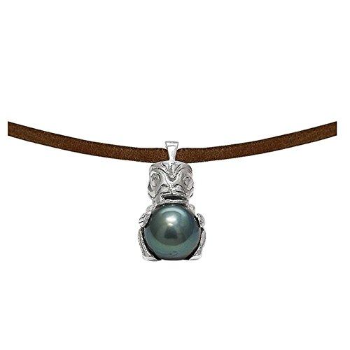 Collier Homme Tribal en Cuir, Perle de Tahiti et Argent Massif 925 -Blue Pearls-BPS K267 W