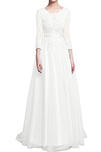 Lang Spitze Glamour Marie Weiß Braut Damen Festlichkleider A Langarm La Linie Brautmutterkleider Abendkleider ZCqPIxxBw