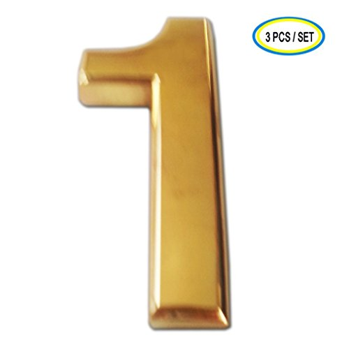 [3 Packs House Number iMustech® 2 Inch Golden 3D Self-stick Mailbox Number with Shiny Golden Plating, For Door, House, Mailbox, Street Address Sign, Car Sticker (#1 Golden)] (Large Lighted Address Plaque)