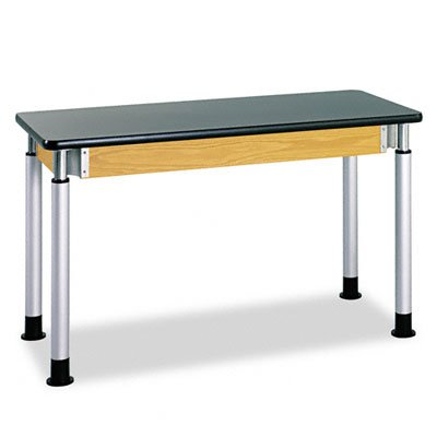 Diversified Woodcraft P8302K UV Finish Plain Adjustable Height Table with Chemguard Top, 72