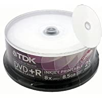 TDK White Inkjet Printable Dual Layer DVD+R 8X 25 pack