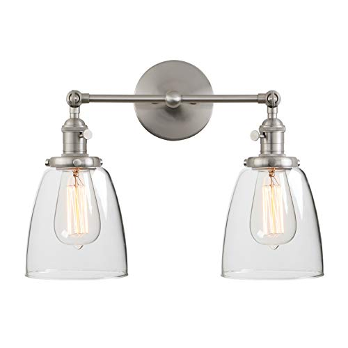 Phansthy 2 Light Industrial Wall Sconce Brushed Nickel Bathroom Vanity Light with 5.6 InchesDome Lamp Shade (Brushed)
