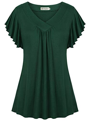 Nandashe Wear to Work Tops for Women, Women's Stretchy Knitting Comfortable Relaxed Fit Falbala Flutter Sleeved Basic Tee Shopping Street Going Out Undershirts Beach Tunic Dark Green XL