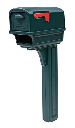 Gibraltar Mailboxes Gentry Large Capacity Double-Walled Plastic Green, All-In-One Mailbox & Post Combo Kit, GGC1G0000