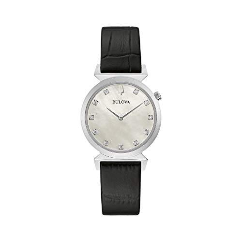 Reloj Bulova Classic de cuarzo para mujer, acero inoxidable con correa de piel negra, diamante, tono plateado (modelo: 96P210)