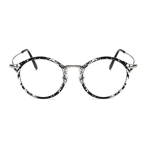 lunettes myopie Frame métal lentilles résine Rétro Mode cadre Noir Lunettes Inlefen Homme Round Femme T4q4HU6