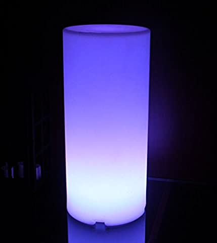 LED Color Changing Pillar Shaped Indoor/Outdoor Mood Light - Rechargeable, Wireless with Remote (Remote Cylinder)