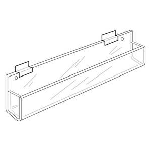 Slatwall Display 11-3/4x1-3/4 Inch Clear Acrylic Rack Closed Ends with 20 Degree Tilt for Retail Merchandise and Greeting Card Display ()