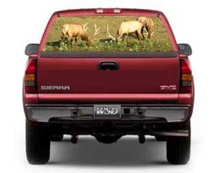 (See Through Rear Window Graphic with Elk - 21.5