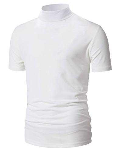 Mens Classic Fashion Slim Fit Lightweight Solid Color Short Sleeve Turtle-Neck T-Shirt White XL