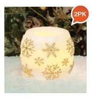 Mini Hurricane Gold Snowflake LED Flameless Candles 2 Pack Gold Hurricane Lamp