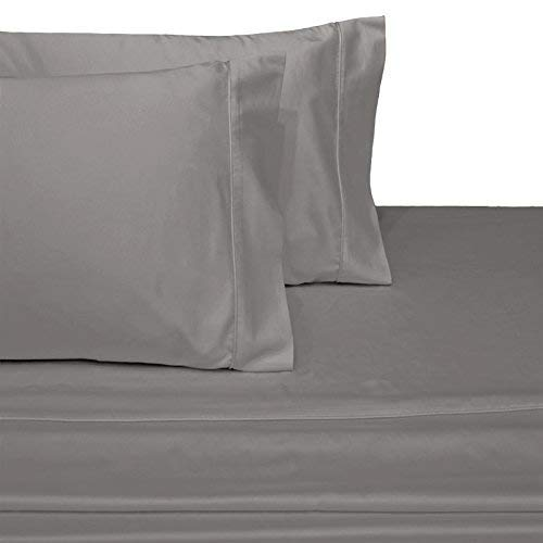 SL SUPREME LINEN Split Top King (Adjustable, Flex Top King Size) 100% Cotton, Solid Silver Grey, 800 Thread Count, Sateen Weave, 18 inch Deep Pocket Bed Sheet Set