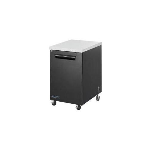 Maxx Cold MCBB24-1B 24'' Back Bar Cooler with 7 cu. ft. Capacity Painted black Coated Steel Exterior Solid Doors with Locks 1/3 HP Easy Cleaning and Servicing in