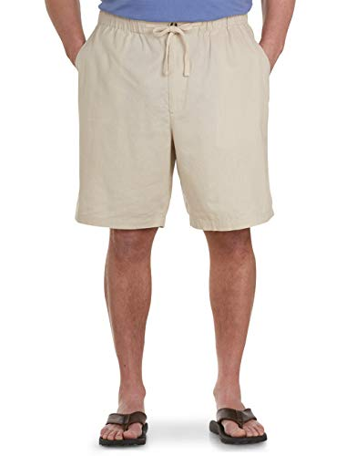 Island Passport by DXL Big and Tall Linen-Blend Drawstring Shorts, Natural, -