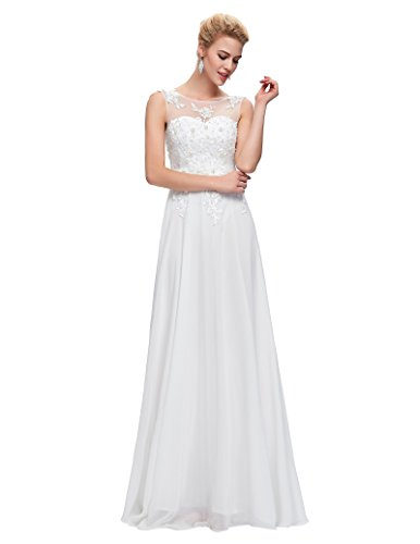Women Chiffon Long Homecoming Gown White Plus Size 18