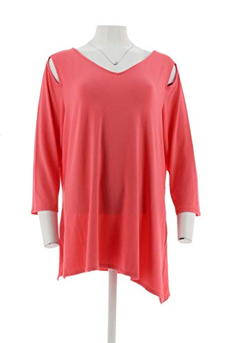 Belle Kim Gravel Knit Top Asymmetrical Hem Coral L New A307422 from Belle by Kim Gravel