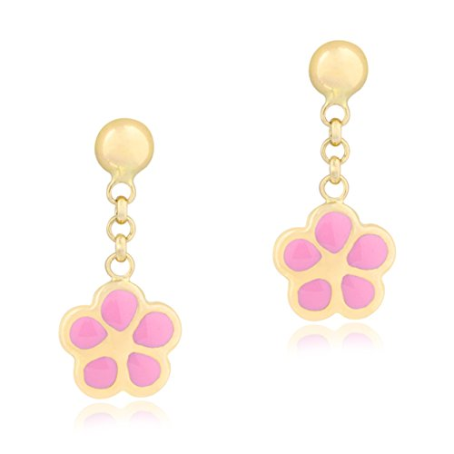 UNICORNJ 14K Yellow Gold Dangle Earrings with Flower Enameled Light Pink Kids & Children by Unicornj