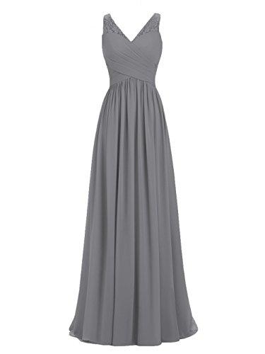Libaosha Women's v-Neck Solid Sleeveless Long Gown Dress, Dark Grey, - Chiffon Waist Gown