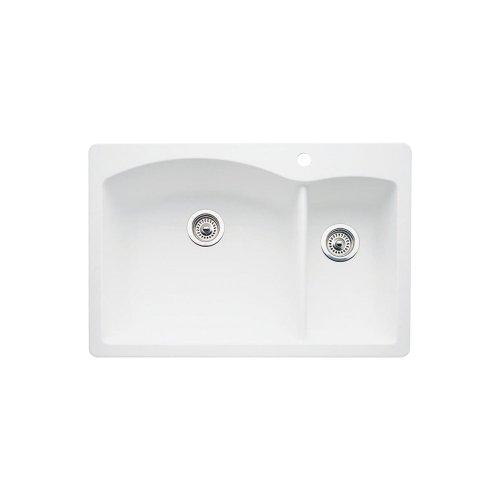 nd 1-1/2 Bowl Kitchen Sink, White Finish ()