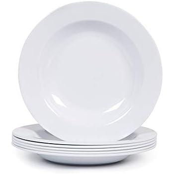 Melamine Plates, 9-1/2 inch Pasta/Salad/Soup/Serving Plates, Set of 6, Break & Chip Resistant