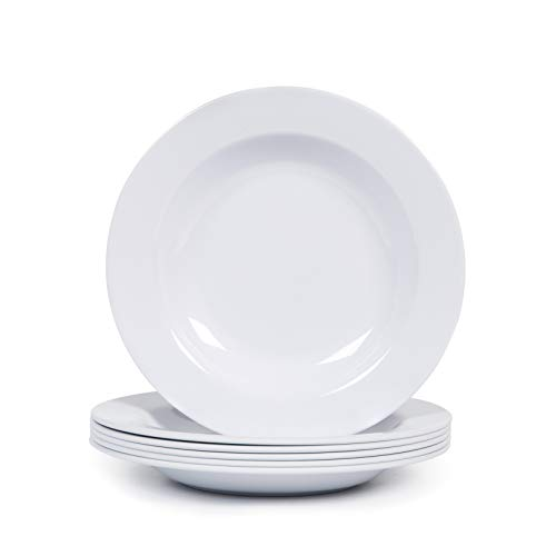 Melamine Plates, 9-1/2 inch Pasta/Salad/Soup/Serving Plates, Set of 6, Break & Chip Resistant