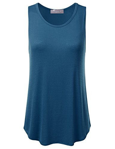 - FLORIA Womens Basic Flowy Loose Fit Ultra Lightweight Soft Knit Sheer Tank Top Teal M