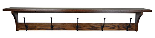 Wood Coat Rack Shelf Wall Mounted, Shaker, 5 Hook, Oak Wood, Michaels Stain