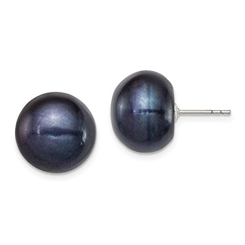 925 Sterling Silver 13mm Black Freshwater Cultured Button Pearl Stud Earrings Ball Fine Jewelry Gifts For Women For Her (13 Mm Cultured Pearl)