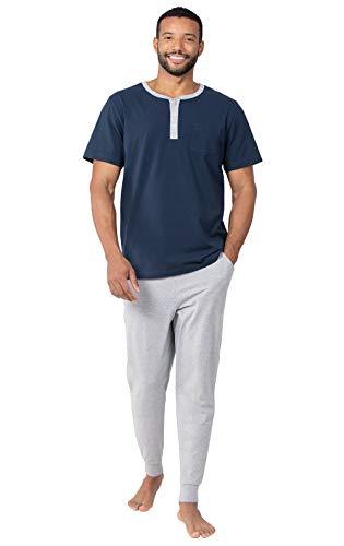 PajamaGram Mens PJs Set Cotton - Ringer Tee Mens Pajamas Set, Gray, SM]()