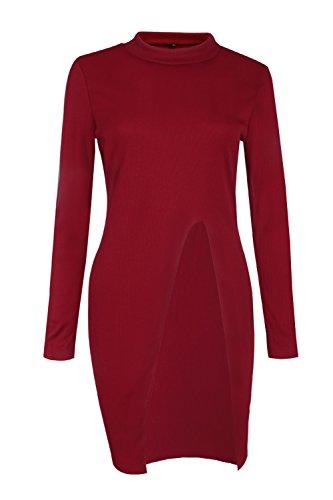 La Mujer De Manga Larga De Punto De Alta Corte Slim Fit Sólido Jerseys Jerseys Red