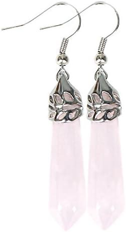 Haptian El péndulo Hexagonal Elegante de Las Gotas de la Piedra Preciosa cuelga el Pendiente Eardrop(Cuarzo Rosa)