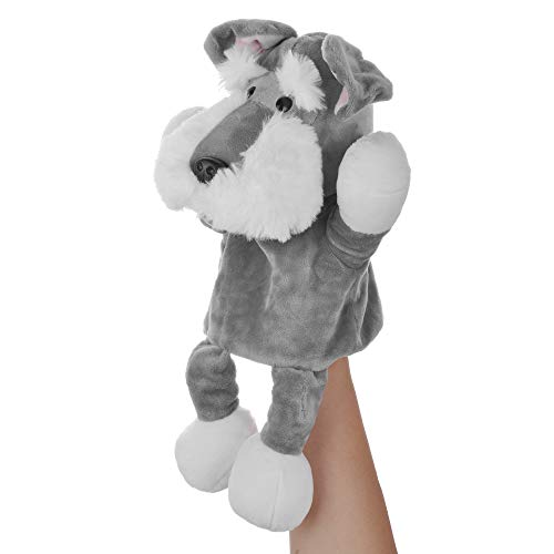 Lazada Plush Schnauzer Hand Puppet Stuffed Animal Toy Wonderful Family Play Grey