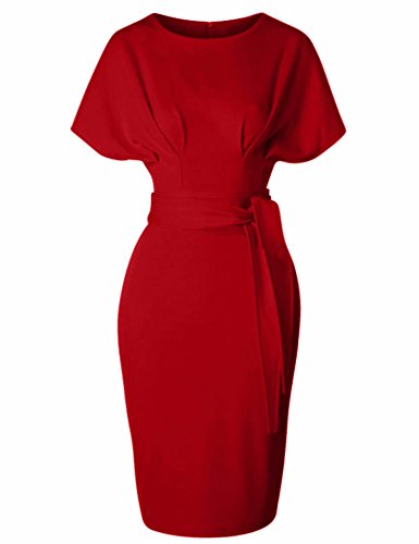 GownTown Women's 50s 60s Vintage Sexy Fitted Office Pencil Dress Red -