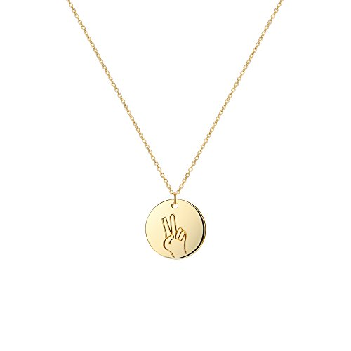- Befettly Hand Gestures Choker Necklace 14 K Gold Plated Personalized Disk Pendant for Women NK-ges-Peace