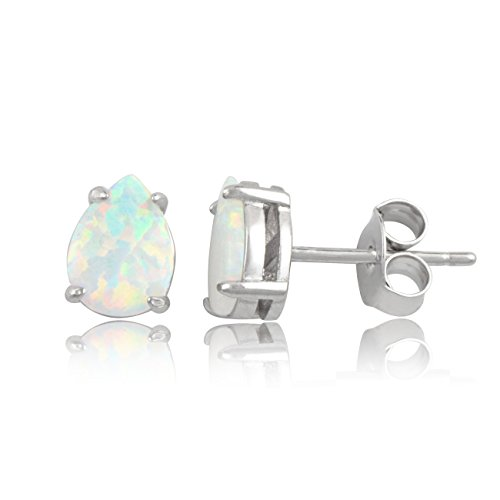 Sterling Silver Created Opal Earrings product image