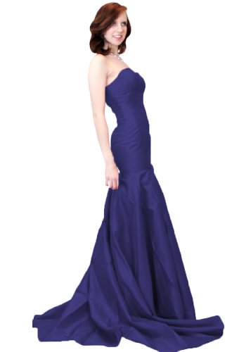Beautifly Women's Stunning Strapless Taffeta Long Train Prom Ball Gown Evening - Evening Taffeta Strapless Dress