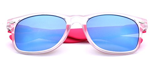 Colorful Retro Fashion Sunglasses Translucent Clear Matte Frame - Color Mirrored Lenses Clear - Pink